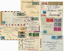 TRANSATLANTIC AIRMAIL HANDSTAMPED WW2 CENSORED+DENMARK+SWEDEN+GERMANY+CLIPPER