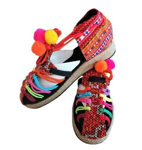 Thai Handmade Shoes Embroidered Cotton Fabric Hmong hill tribe, Black Sandals