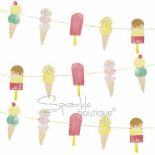 ICE CREAM Bunting-estate partito / BARBECUE Decorazione / ICE LOLLY Garland / banner