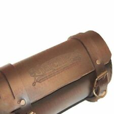 Tool Bag Roll Pure Brown Leather Retro Matchless Logo Engraved Design S2u