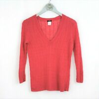 J Crew Coral Pink Sweater sz XS Womens 100% Linen Cable Knit V-Neck 3/4 Sleeve
