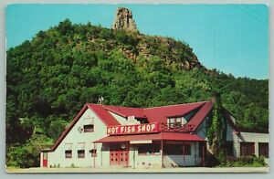 Winona Minnesota~Hot Fish Shop~Sugar Loaf Hill~Vintage Postcard