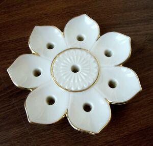 Elegant Vintage Lenox China Ivory Lotus Flower 8 Taper Candle Holder Gold Trim