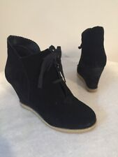 Kelsi Dagger Helix Lace Up Wedge Booties Ankle Boots Black Leather Suede 7.5