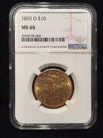 1893 O Liberty Head Gold $10 One Eagle NGC MS60 Ten Dollar UNC Uncirculated
