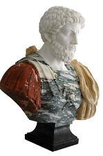 Buste Empereur Romano Marbre Multicolor Marco Aurèle Classic Sculpture