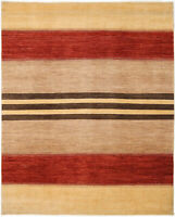 8X10 Hand-Knotted Gabbeh Carpet Tribal Beige Fine Wool Area Rug D35893
