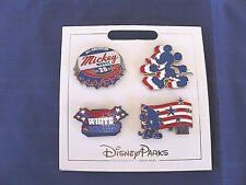 New Disney Parks 2018 * RED WHITE BLUE MICKEY * 4 Pin Set on Card Trading Pins