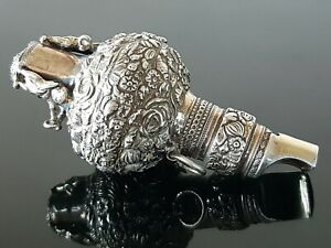 Antique Solid Silver Baby Rattle Whistle