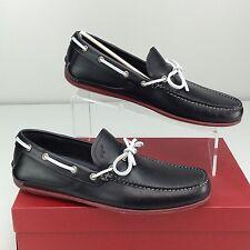 SALVATORE FERRAGAMO Mango Moccasin Boat Shoes Slip On US 8 D Nero Calf Black