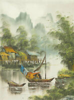 20th Century Acrylic - Southeast Asian River Scene with Huts and Boats