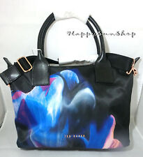 TED BAKER Shoulder Crossbody Tote Bag With Long Strap Clio Nylon Black Floral