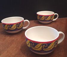 (3) Set VA VISTA ALEGRE Portugal RIO Yellow Laurel Blue Red Tea Cups Coffee Mugs