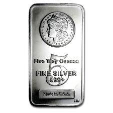 5 TROY OUNCE .999 FINE SILVER MORGAN BAR BU + (3) 99.9% 24K GOLD $100 BILLS