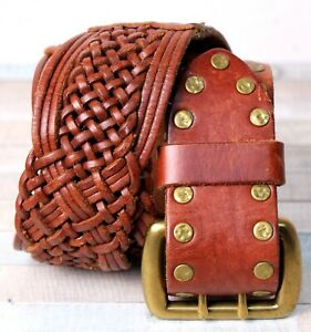 """Lucky Brand BRAIDED TAN BROWN GENUINE LEATHER 1 3/4""""Wd CASUAL BELT Sz XS/S (T14"""
