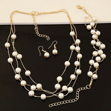 Fashion Pearl Silver Plated Necklace Earrings Bracelet Set Wedding Jewelry SetEP