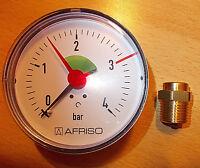 """Manometer 1/2"""" 1/4"""" Anschluss hinten axial Afriso 0- 4 bar 80 mm Heizung Wasser"""