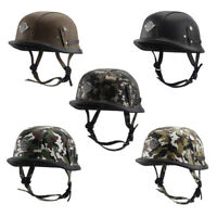 DOT Retro German Motorcycle Half Helmet Skull Cap Scooter Chopper Leather Helmet