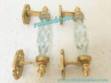 "Antique Style 2Pcs Beautiful 10"" Transparent Glass Crystal Cut Brass Door Handle"
