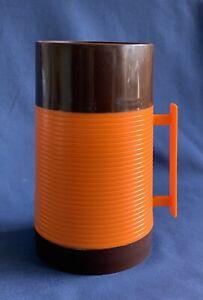 1970s Vintage Retro Food FLASK 0.5L Orange and Brown plastic Aladdin - picnic