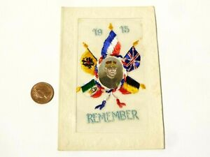 WW1 1915 Remember Portrait Watercolour French Embroidered Silk Postcard #SP7