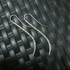 Earrings Hill Tribe Fine 925 Silver Round Hand Craft Fang Vintage Sticks Artisan