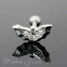 SILVER SURGICAL STEEL SIMULATED DIAMOND BAT WING CARTILAGE TRAGUS HELIX STUD