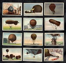 Hot Air Balloons & Airships Garbaty German 12 Card Set 1932 Flying Aviation
