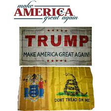 3x5 Donald Trump White & New Jersey Gadsden Wholesale Flag Set 3'x5'