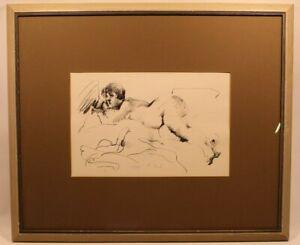 Signed Autographed VTG Art Framed Rosemarie Beck Nude Vincent Price Collection
