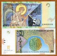 Macedonia 50 Denari 2007, P-15 (15f) Replaced by polymer UNC > Archangel Gabriel