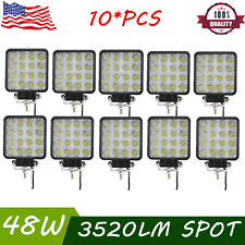 "10X 48W 4""in SPOT Cube LED Work Light Fog Driving Lamp Off-Road 4WD ATV UTV 18W"