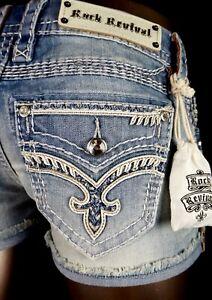 """$180 Buckle Rock Revival Jeans """"Jelina"""" Swarovski Crystal Leather Inserts Shorts"""