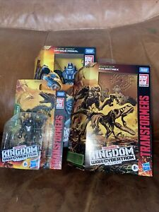 Transformers War For Cybertron Kingdom Optimus Primal, Paleotrex, and Vertebreak