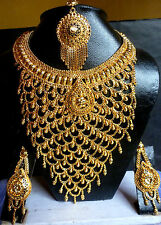 22K Gold Plate Wide Wedding Necklace Earrings Tikka Wide South Indian Nice Set