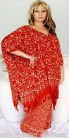 rust tunic poncho pants wide leg batik -M L XL 1X 2X 3X 4X plus