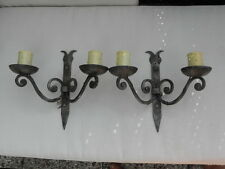 HAND FORGED CANDLE Ceiling WROUGHT DOUBLE WALL lamp LIGHTS SCONCES GOTHIC RUSTIC