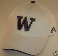 Washington Huskies White Structured Adjustable Hat By adidas