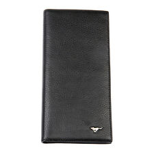 Men Cow Bifold Leather Wallet Long Card Septwolves Purse black 313221-01-Y
