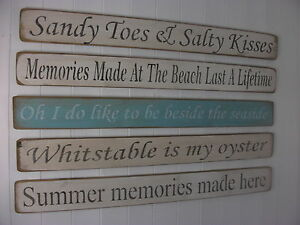 Shabby chic wooden signs home interiors decorative BEACH