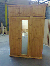 AYLESBURY PINE TRIPLE FULL HANGING WARDROBE WITH CENTRE MIRROR AND TOP BOX