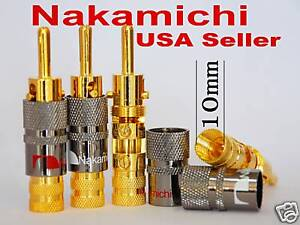 4 High End NAKAMICHI Amp Lock In Banana Plugs 10mm Audio Connector N0575 USA