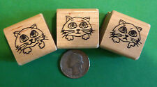 Kitty Cat Smiley Faces Set of 3, Regular Size, Teacher's Rubber Stamps Set