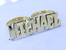PERSONALIZED GP TWO 2 FINGER NAME RING DOUBLE  BLOCK