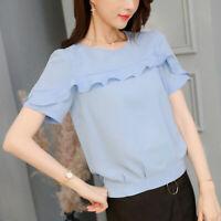 Short Sleeve Shirt T-Shirt Women Top Ladies Fashion Blouse Loose Chiffon Summer