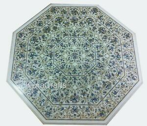 42 Inch Marble Dining Table Top Shiny Gemstone Inlaid Work Centre Table for Home