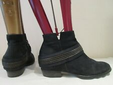 PAUL GREEN BLACK NUBUCK LEATHER ANKLE BOOTS UK 4.5 EU 37.5 (3180)