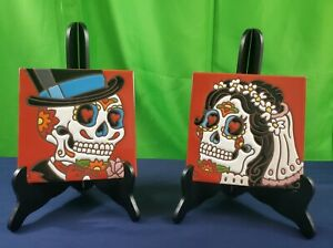 2 Hand Glazed Tiles Day of the Dead 6 X 6 Made In USA By Hand N Hand Designs