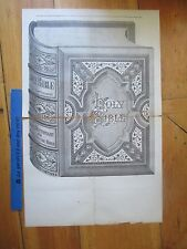 c1870s Pictorial Holy Bible Salesman's Sample Advertising Sign paper