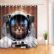"""71"""" Space Cat Waterproof Polyester Shower Curtain Bathroom 12 Hooks Home Decor"""